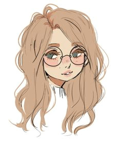 girl with glasses sketch drawing