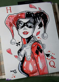 harley quinn art watercolor painting 11 x14 by jorgecz 2016 harley quinn drawing