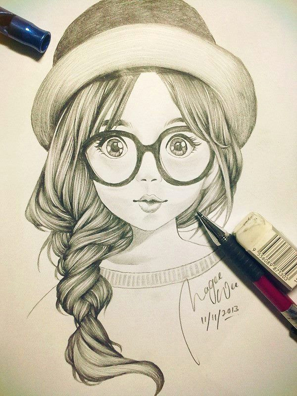 cute girl sketch art