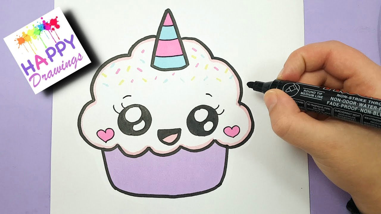 how to draw a cute cupcake unicorn super easy and kawaii