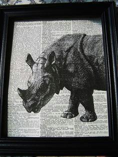 rhino printed on words animal drawings animals beautiful painting drawing rhinoceros