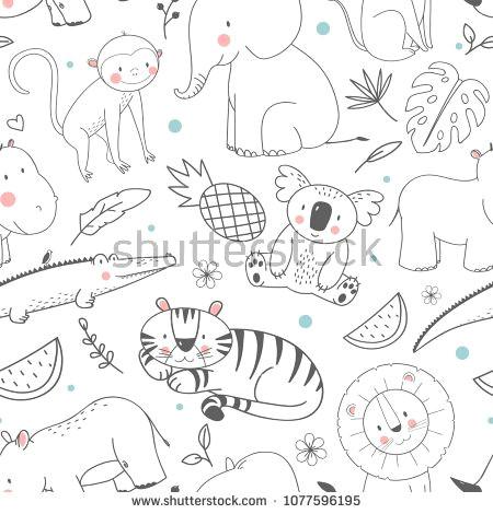 simple vector pattern with animals cute children s wallpaper african animals elephant bigem rhinoceros monkey crocodile koala tiger