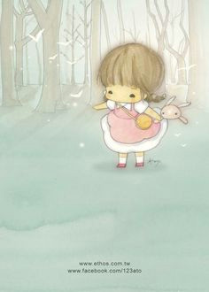 amy tim super cute kawaii and whimsical girl and bunny cartoon illustration