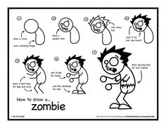 easy step by step instructions for kids on how to draw a zombie plus