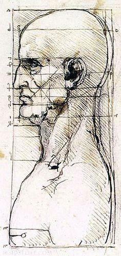 leonardo da vinci study of proportion of a man s profile da vinci sketches da