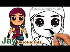 how to draw jay from disney descendants cute step by step