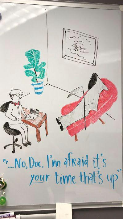 therapist cartoon dry erase marker art
