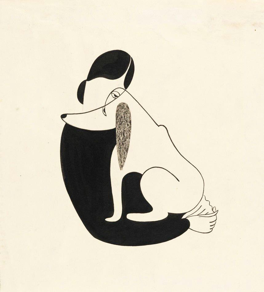 christina malman woman and a dog 1935