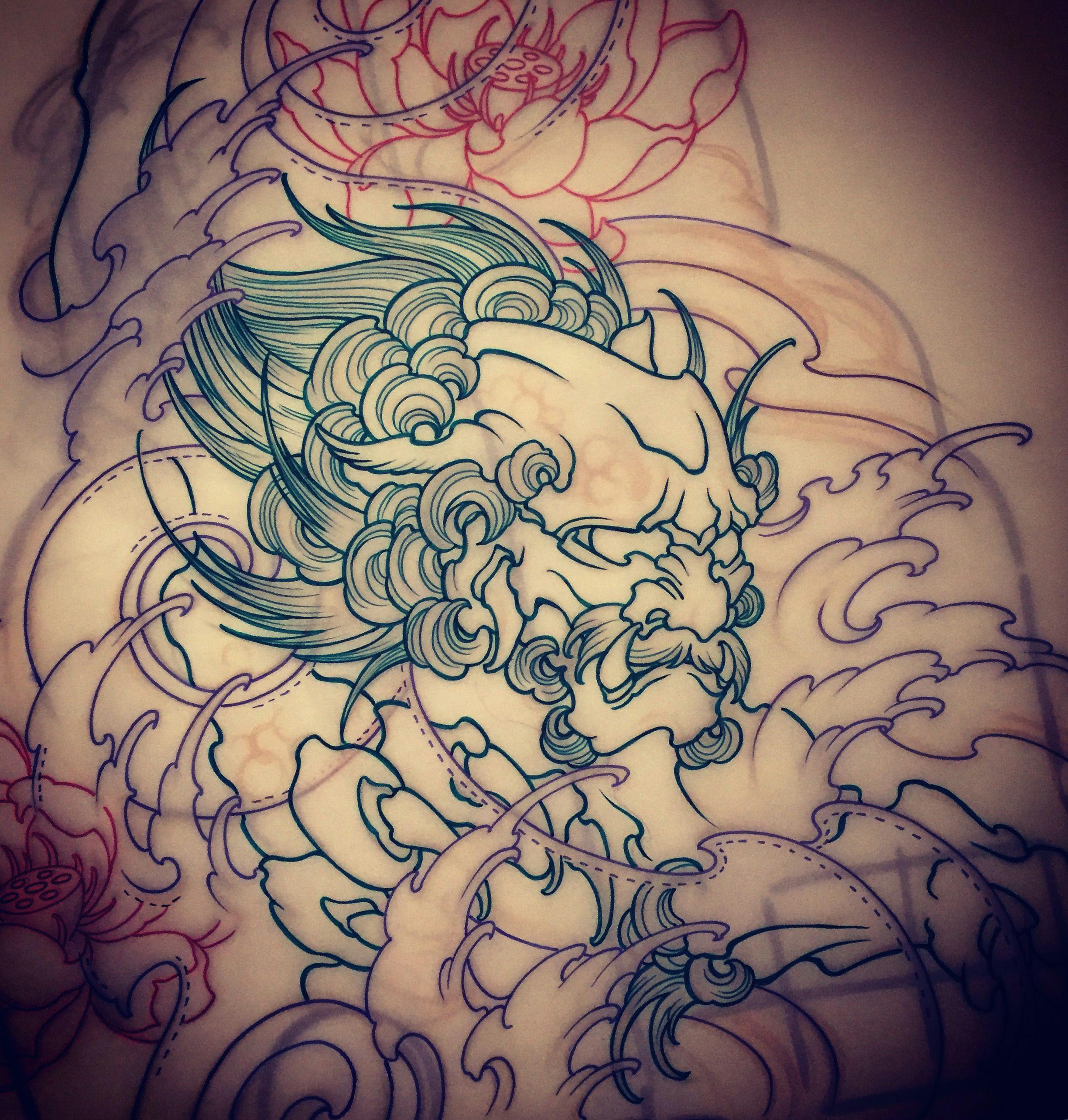 amsterdam tattoo 1825 kimihito foo dog japanese style tattoo design