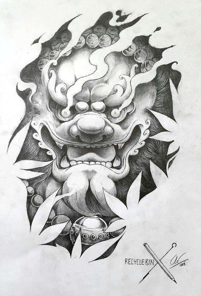 Dog Tattoo Drawing Pin by Houzi On A C Tattoos Foo Dog Tattoo Tattoo Designs