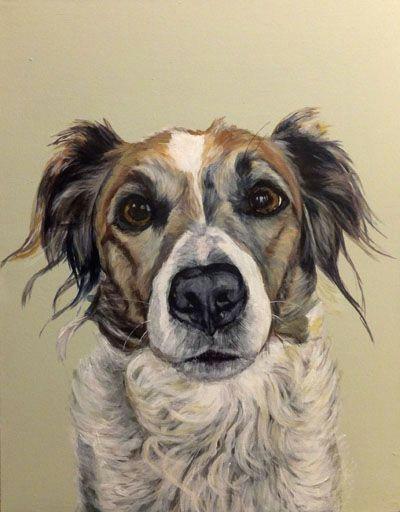 izzie acrylic on canvas bespoke dog portrait from barking madden dog portraits