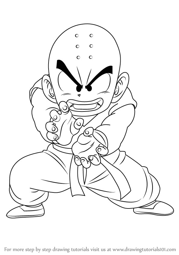 step by step drawing tutorial on how to draw krillin from dragon ball z