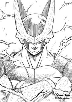 sketch art of cell dragonball super