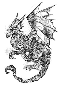 lots of time with sharpie pens as the original is please help fund my kickstarter project to draw more clockwork animals link clockwork dragon black and