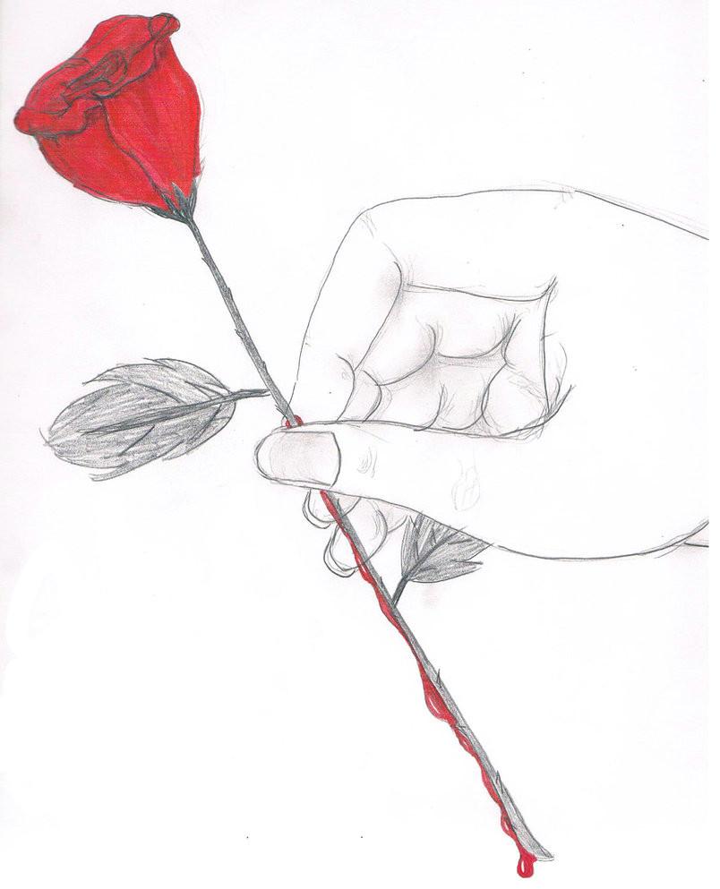 black rose drawing bleeding