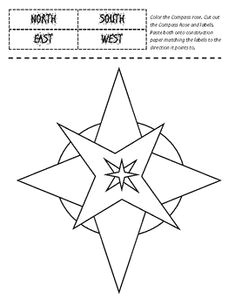 compass rose cut and paste labeling printable