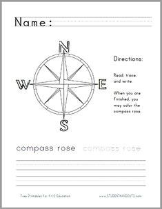 compass rose handwriting worksheet for lower elementary social studies free to print pdf file