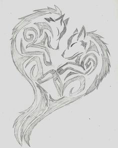 wolf sketch pencil art artwork art heart drawing doodle