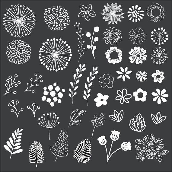 chalkboard floral elements clip art set by birdiydesign