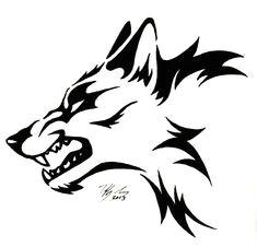 snarling wolf head tattoo