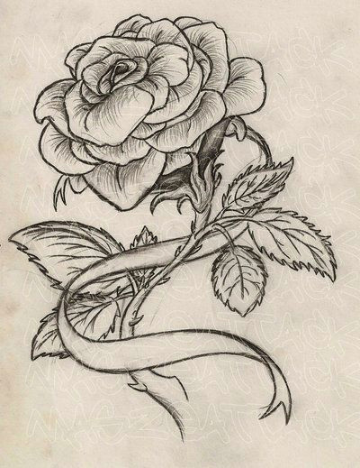 rose with ribbon tattoo by maszeattack deviantart com on deviantart