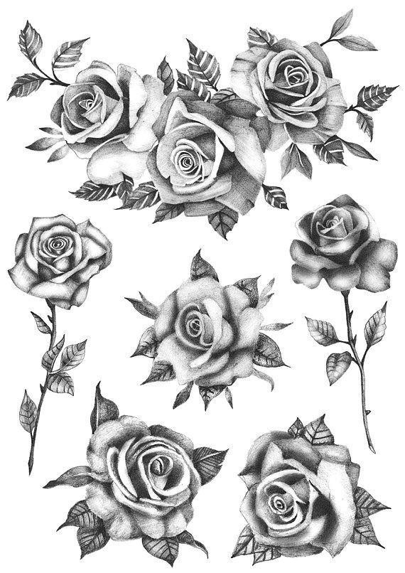 roses flower set set of 6 temporary tattoo realistic roses tattoo roses tattoo flowers tat products pinterest tattoos rose tattoos and