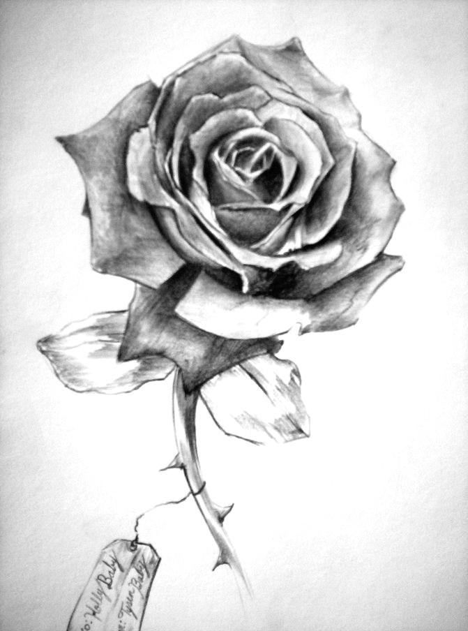 superior grey ink rose tattoo design