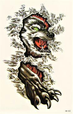 wolf blut tier jagd wild monster angriff temporary temporare klebe fake body einmal tattoo 10