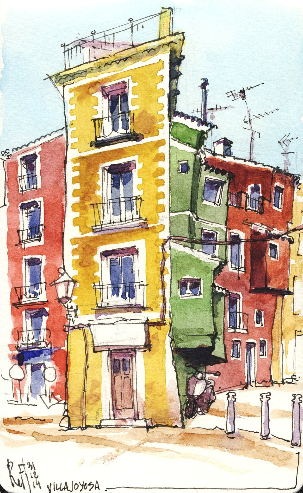 villajoyosa 02 por renefijten watercolor paintings watercolor sketch watercolor illustration watercolours