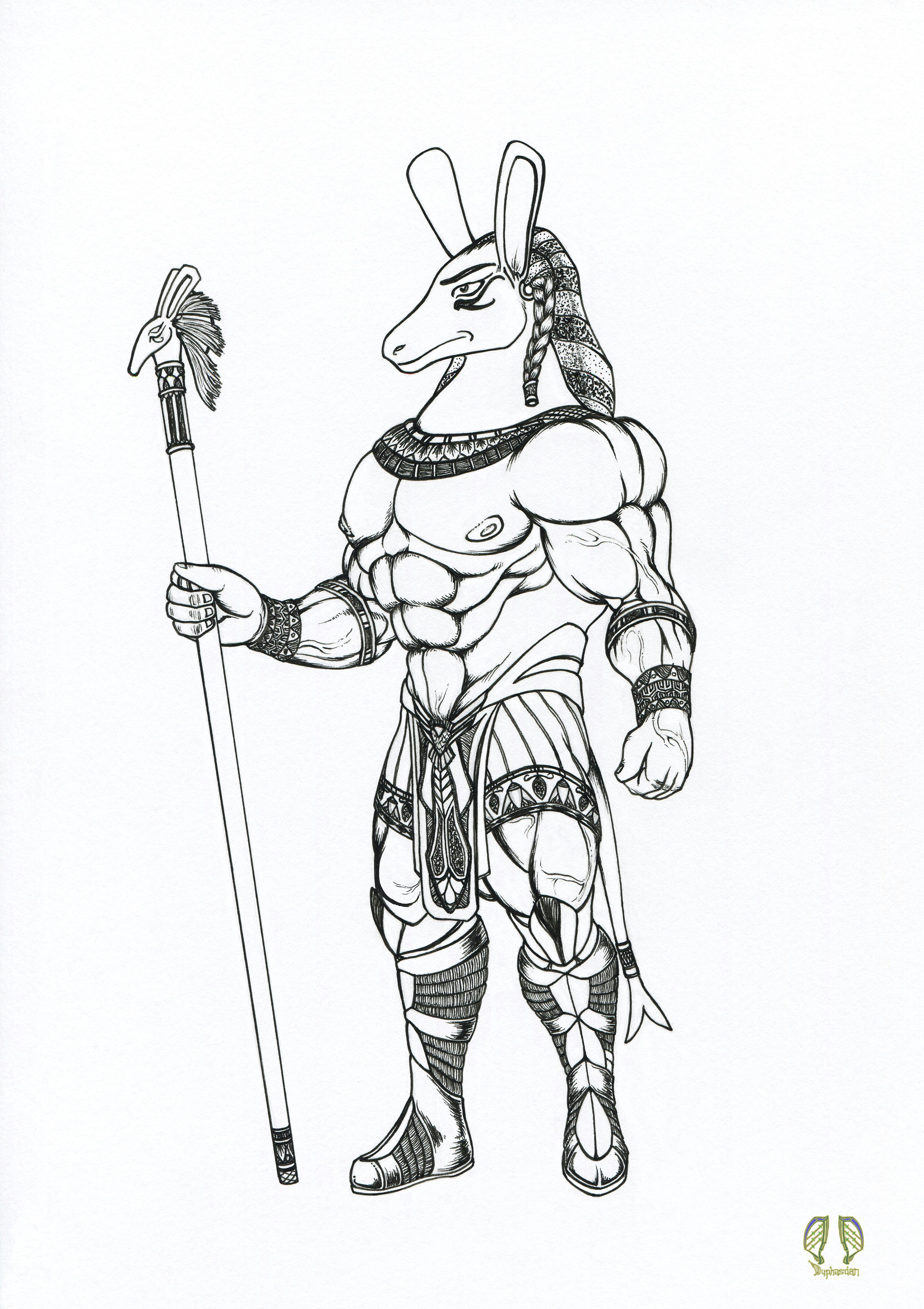 this is an ink line art drawing of the egyptian god set he is the