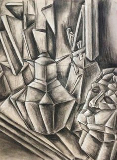 first project of drawing ii class delta college cubism still life