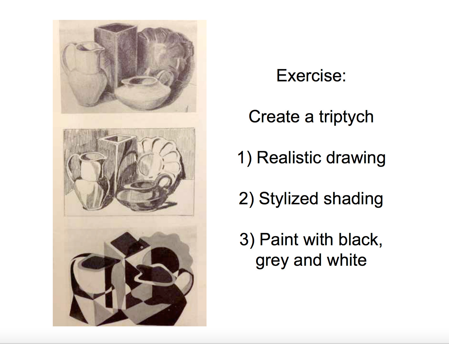 3 styles still life tripych brenda robson art ap drawing ap