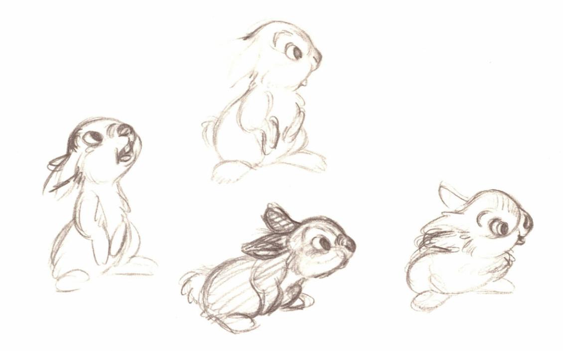 disney bambi concept art 2d animation thumper character design