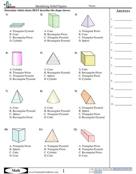 shapes worksheets identifying solid figures worksheet