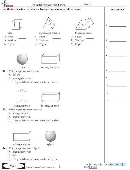 shapes worksheets characteristics of 3d shapes worksheet