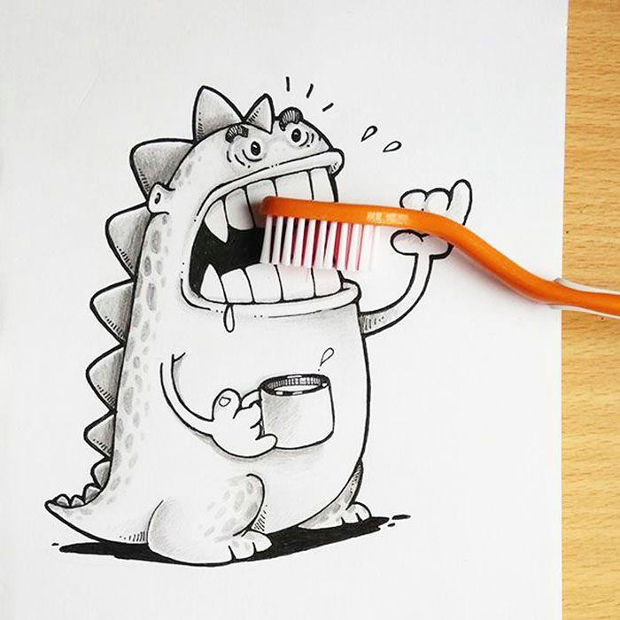 cute dragon doodles interact 3d objects drogo manik ratan 4