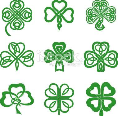 four leaf clover drawings celtic knot shamrocks royalty free stock vector art illustration