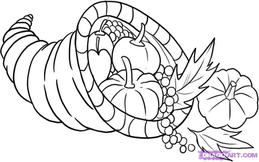 Drawing 4 Seasons Cornucopia How to Draw A Cornucopia Step by Step Thanksgiving