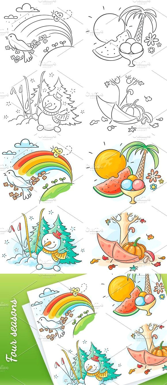 the four seasons in cartoon pictures summer