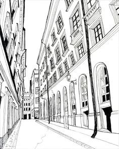 holiday fine art print stockholm pen and ink black and white 5 x 7