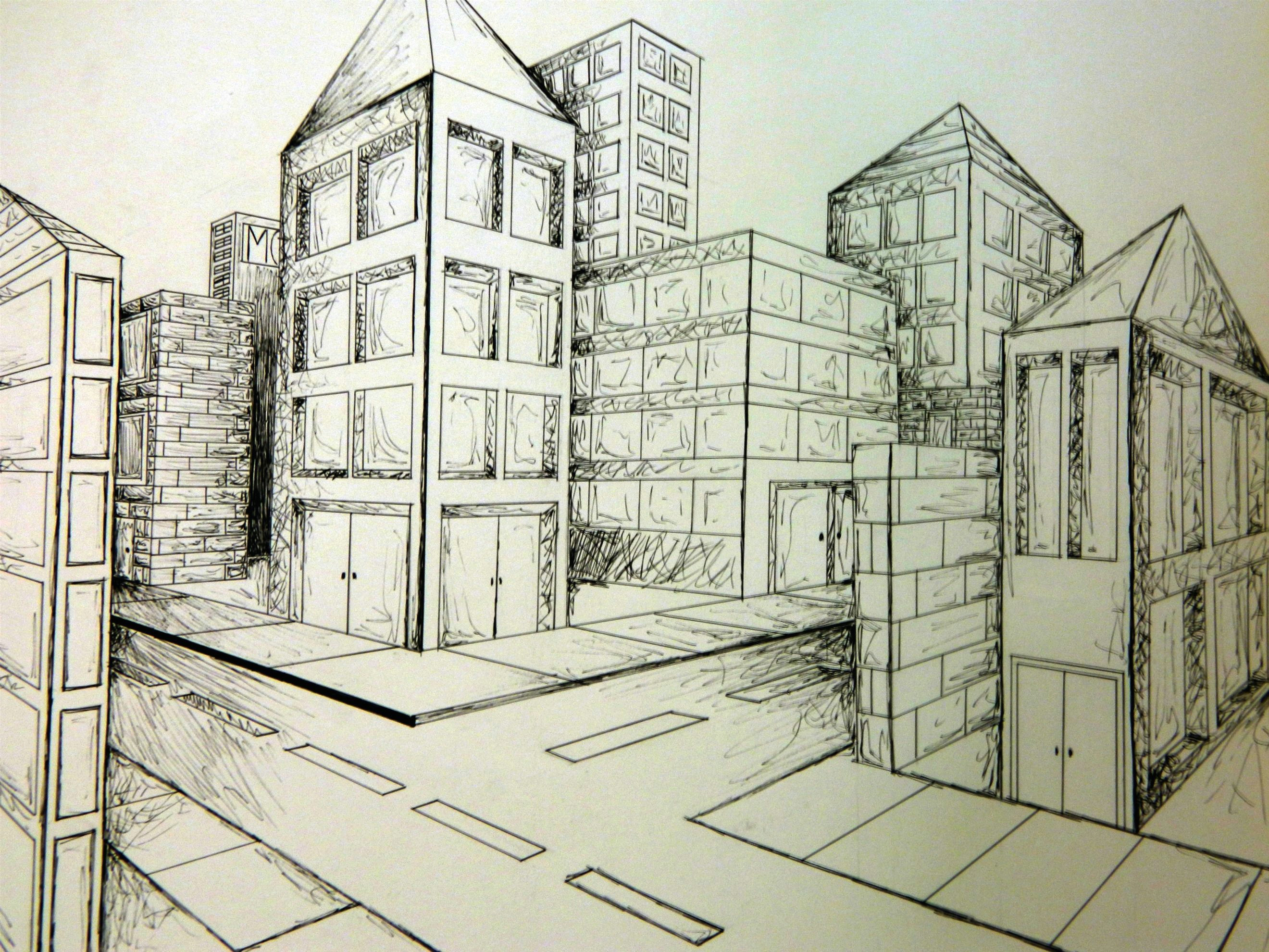 2 point perspective city