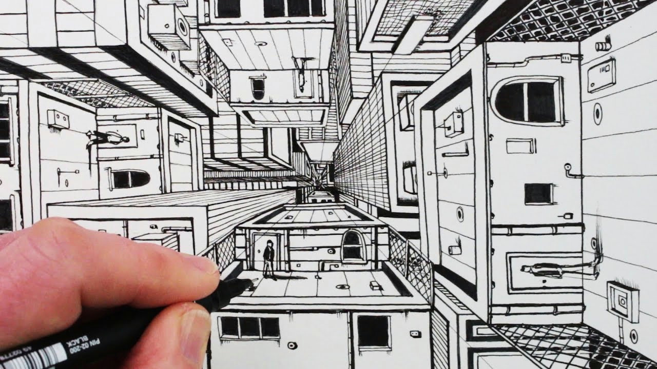 how to draw 1 point perspective draw 3d buildings