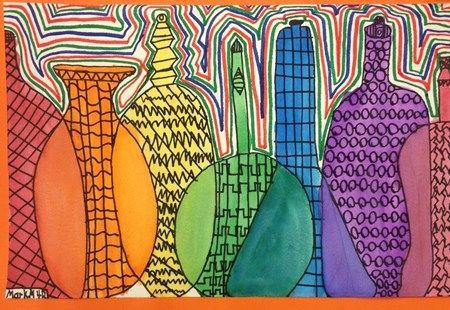 overlapping bottles to create the color spectrum 5th grade review primary secondary and tertiary colors