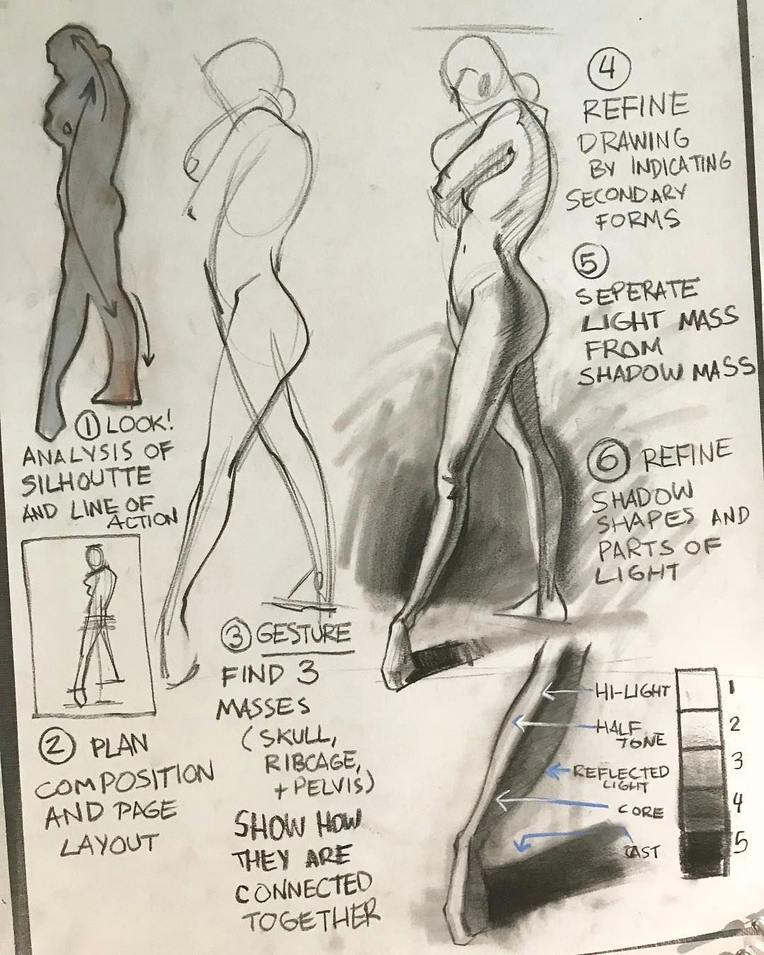 drawing demo from class figuredrawing charcoal stepbystep howtodraw figure anatomy