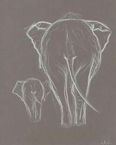 two elephant white pastel drawing original elephant drawing baby elephant with mother elephant