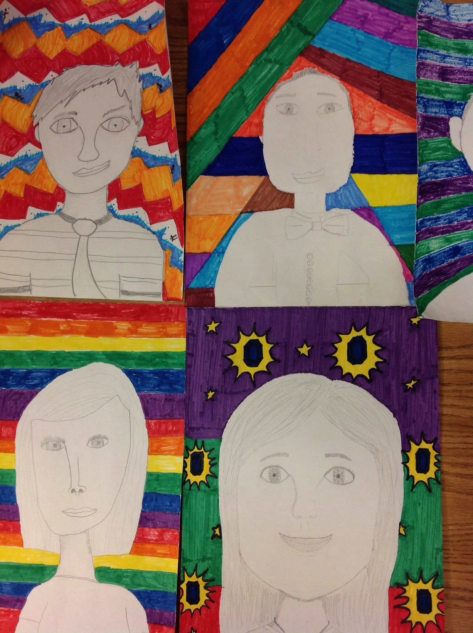 Drawing 6th Class Self Portraits Drawn In Pencil and Colored Bright Design Background