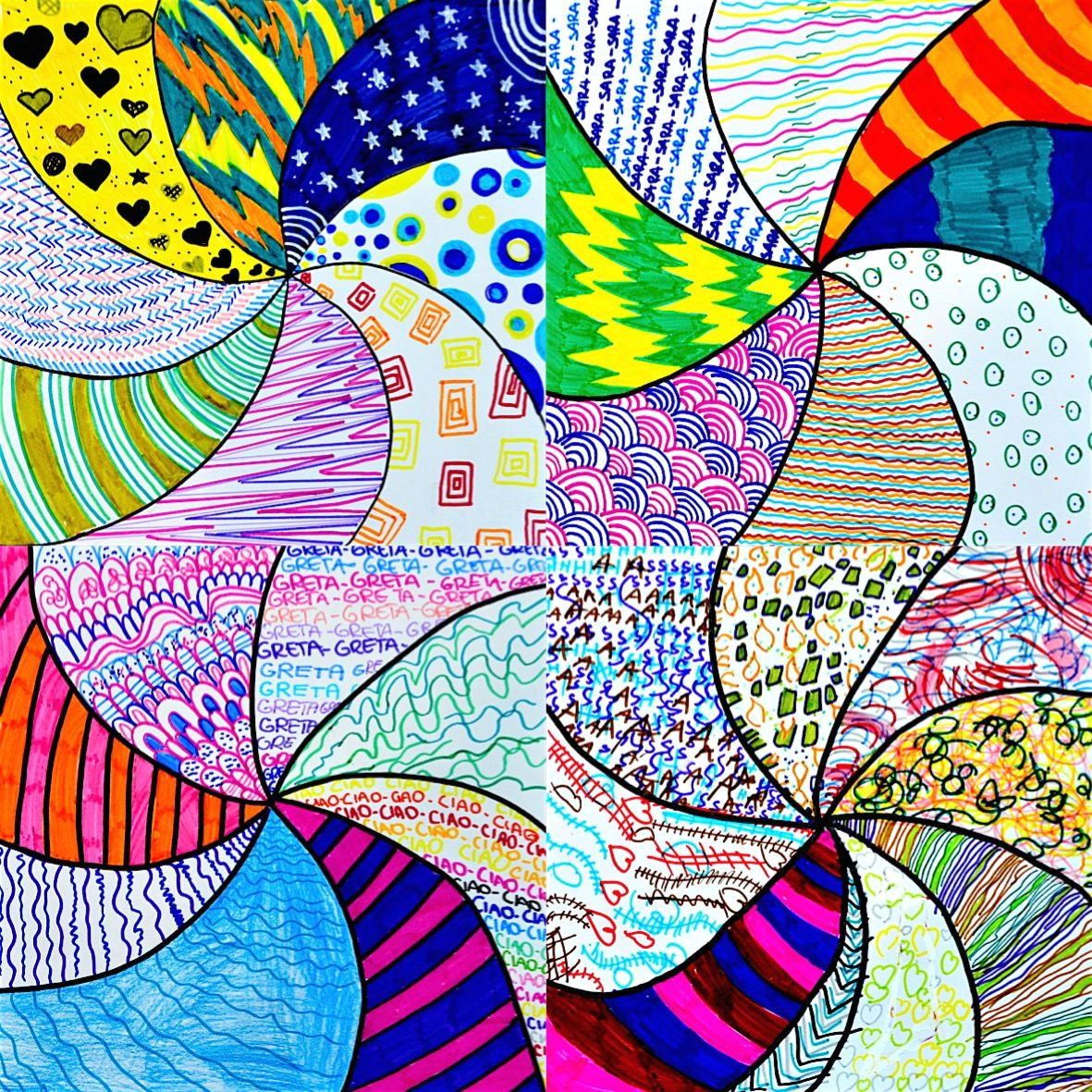 a colored vortex of graphic textures have been created here by students of 6th grade to test their creativity here we have the instructions to follow in
