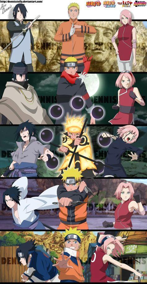 the team 7 evolution naruto sasuke and sakura by dennisstelly