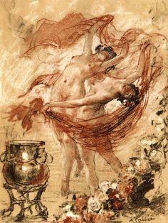 antoine calbet la danse d aphrodite aphrodite painting drawing dance