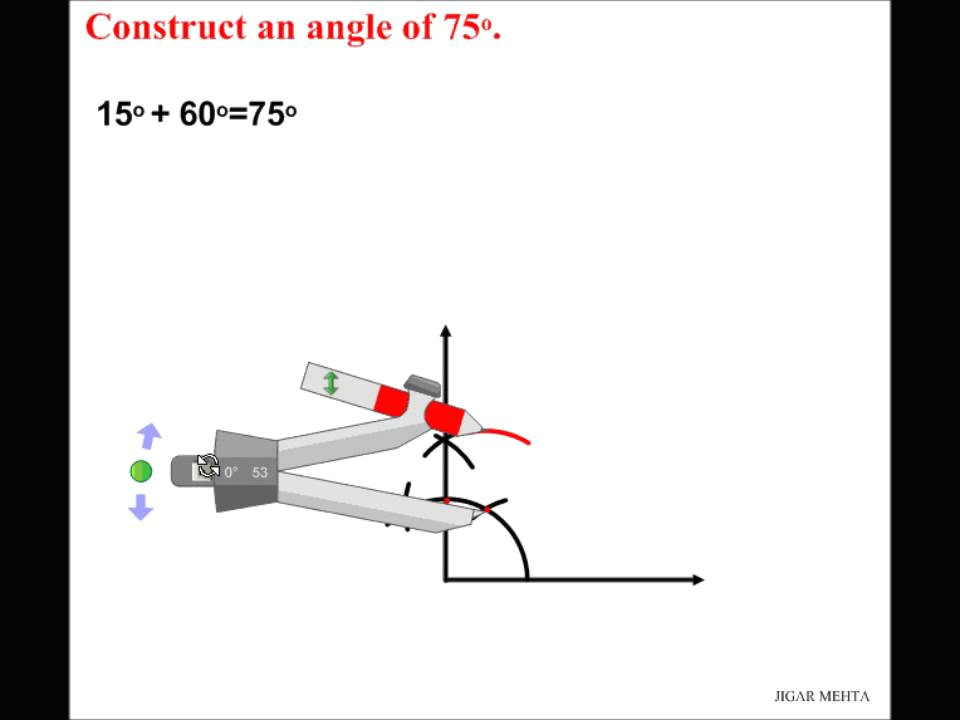 angle constructions using compass 75 degrees youtube